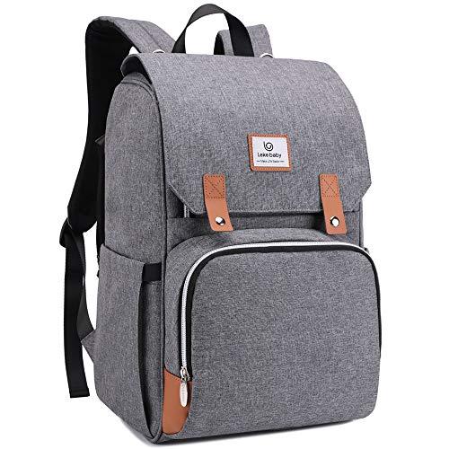 Lekebaby Baby Wickelrucksack Wickeltasche mit Wickelunterlage Große Kapazität Babytasche Reisetasche für Unterwegs, Grau
