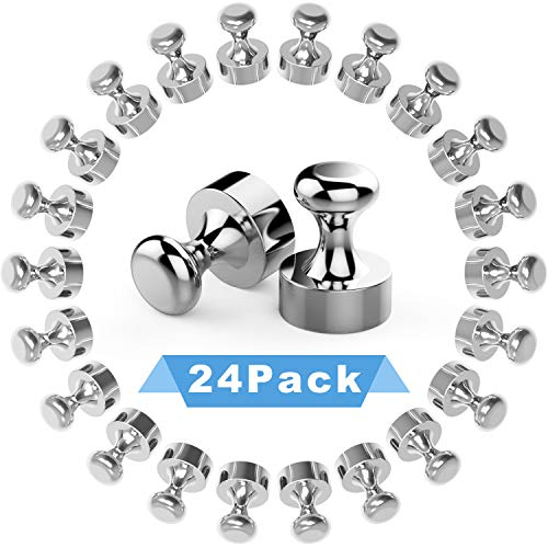 Bdwing 24 Stück Neodym Magnete, Extrem Starke N52 Metall Magnete, Edelstahl Kegelmagnete Kühlschrank Magnete für Magnettafel, Whiteboard, Pinnwand - 12 x 16 mm Mini Magnete