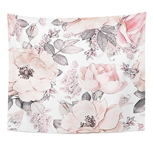 Emvency Tapestry Pink Grey Flowers and Leaves on Watercolor Floral Pattern Rose Home Decor Wall Hanging for Living Room Bedroom Dorm 50x60 Inches