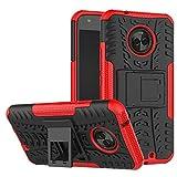JZ Tire Pattern Design Hülle for Für Motorola Moto X4 Hülle with [Shockproof][Scratch-Resistant][Kickstand] - Red