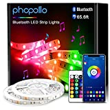 Phopollo Smart Led Strip Lights, 65.6ft Flexible Led Lights with Phone Control and 24 Keys Remote for Bedroom, House, Holiday Decoration