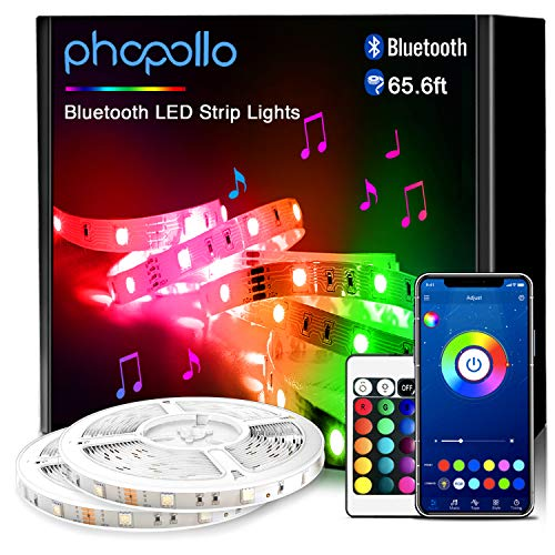PHOPOLLO Bluetooth Led Strip Lights, 65.6ft Flexible Led Lights with Phone Control and 24 Keys Remote for Bedroom, House, Holiday Decoration