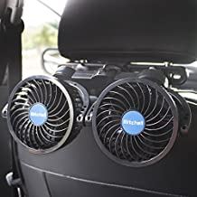 poraxy Car Fans,12V Electric Auto Cooling Fan, Headrest 360 Degree Rotatable Dual Head Stepless Speed Rear Seat Air Fan for Sedan SUV RV Boat