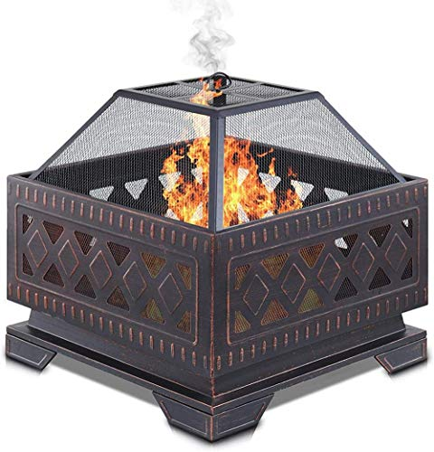 Fire Pit Brazier with Mesh Spark Guard BBQ Grill Insert and Metal Fire Poker Iron Weather and Rust-Resistant (25' Square),25' Square