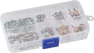 Alonea 55pcs A/C AC Schrader Valve Cores Assortment For R134a R12 R22 7 Kinds AC Kit (Multicolor)