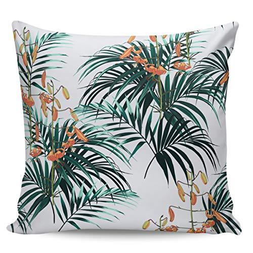 Scrummy - Federa per cuscino da 61 x 61 cm, motivo foglie verdi fresche, petali gialli, fiori e petali gialli, per decorazione domestica
