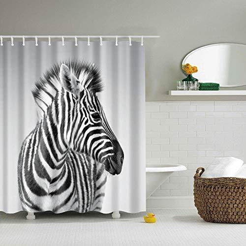 Duschvorhang 3D Duschvorhänge für Dusche in Badezimmer Shower Curtains Anti-Schimmel Badevorhang Waschbar Stoff Polyester Badewanne Vorhang mit 12 Haken Zebra 180x200 cm
