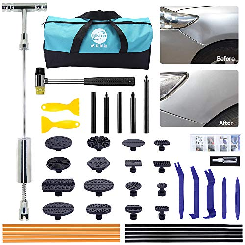 GLISTON Auto Body Dent Repair Tools - Dent Puller with Slide Hammer T Bar Dent Puller for DIY Car Body Hail Dent Removal Dent Damage Remover