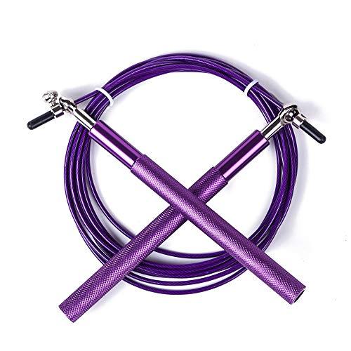UQstyle Corde à sauter réglable pour améliorer la coordination, la force et l'endurance, 3 m en métal Poignée de roulement réglable Corde à sauter A