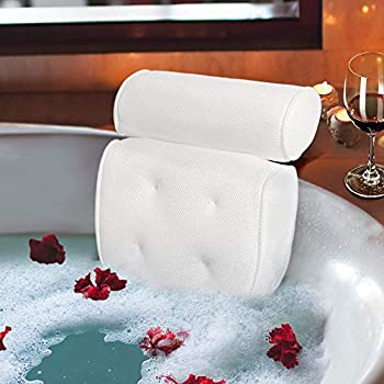 Samplife Bath Pillow Spa Bathtub Cushion Head,Neck,Shoulder and Back Support Rest with 4 Non-Slip Strong Suction Cup