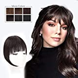HMD Clip in Bangs 100% Human Hair Bangs Extensions for Women Clip on Fringe Bangs Real Hair Nice Natural Flat Neat Bangs with Gradual Temples One Piece Hairpiece for Party and Daily Wear (Brown Black)