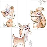 artpin® 3er Set Poster Kinderzimmer - A4 Bilder Babyzimmer - Deko Mädchen Junge (P34)