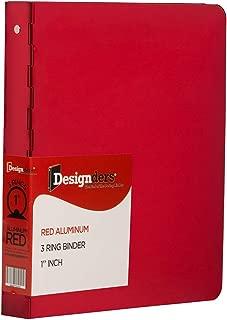 JAM PAPER Aluminium 1 inch Binders - Red Aluminum 3 Ring Binder - Sold Individually