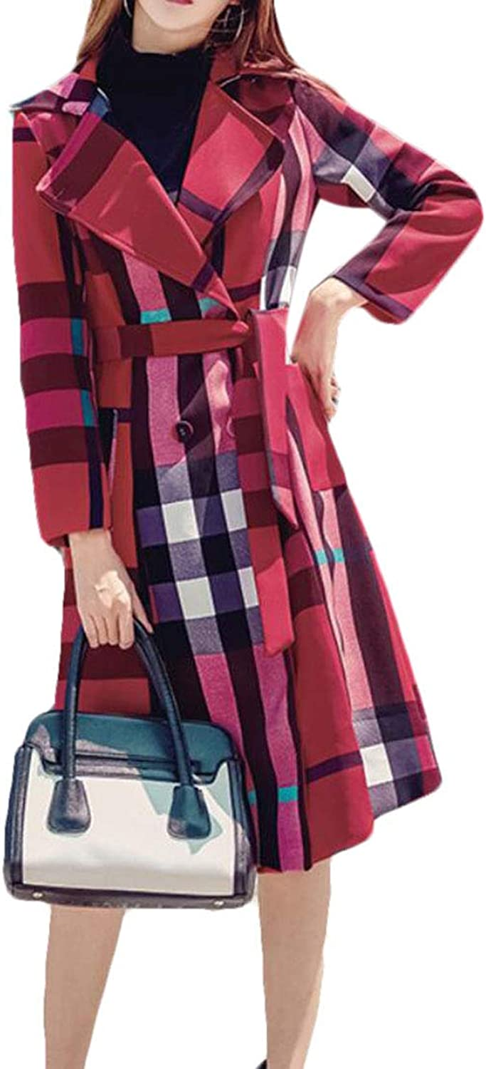Spirio Women Belted Fashion Checked Outdoor DoubleBreasted Long Trench Coat