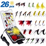 PLUSINNO Fly Fishing Flies Kit, 26\/78Pcs Handmade Fly Fishing Gear with Dry\/Wet Flies, Streamers, Fly Assortment Trout Bass Fishing with Fly Box
