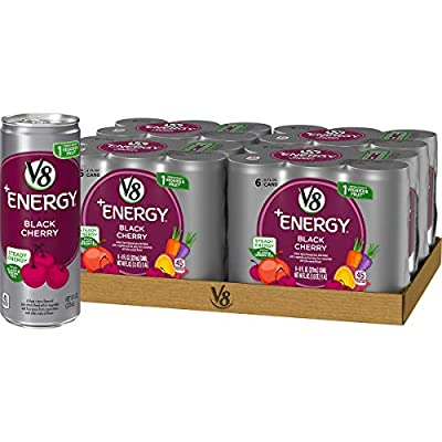 V8 +Energy, Healthy Energy Drink, Natural Energy from Tea, Black Cherry, 8 Ounce Can (4 Packs of 6, Total of 24)