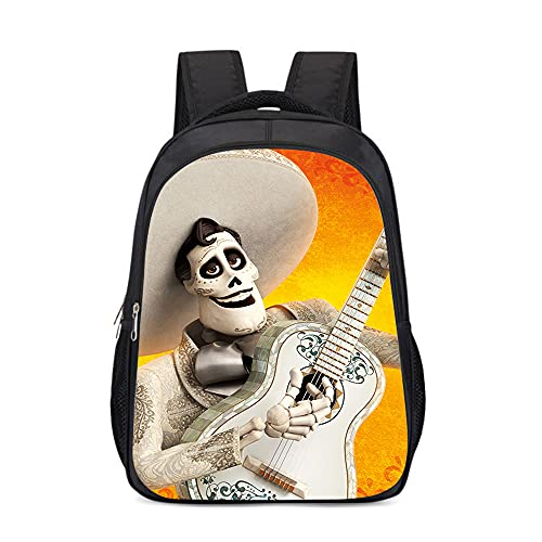 mmkow Mochila con estampado del Día de los Muertos de México Mochila escolar para hombres Caída Músico Héctor Mochila informal (43x30x13cm) Negro