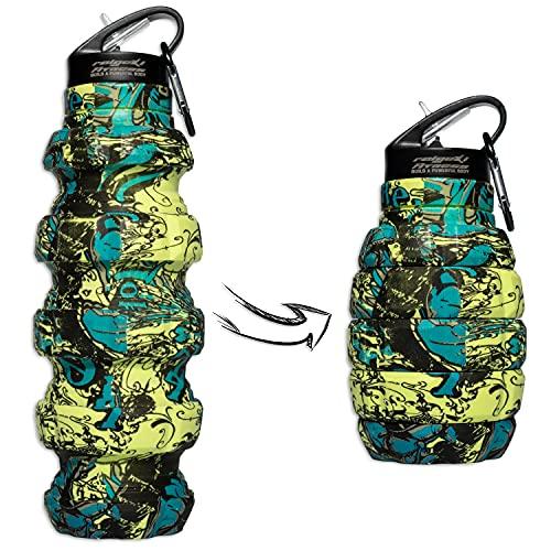 Raigeki Fitness Granate - Borraccia pieghevole da 580 ml, senza BPA, a prova di perdite, in silicone per uso alimentare, bottiglia sportiva per bicicletta, sport, festival con moschettone