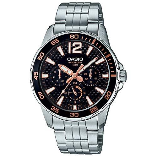 CASIO Reloj de Pulsera para Hombre Multifuncion CASIO MTD-330D-1A3V Acero Inoxidable