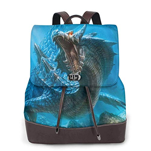 Women'S Leather Backpack,Dragon Cool Blue Print Women'S Leather Backpack
