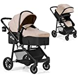 BABY JOY Baby Stroller, 2 in 1 Convertible Carriage Bassinet to Stroller, Pushchair with Foot Cover, Cup Holder, Large...