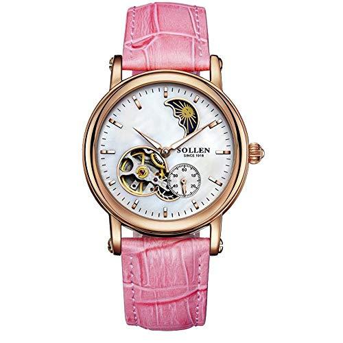 MAlex Armbanduhren, automatische mechanische weibliche Uhr Skelett wasserdichte Ledermode Damen Tabelle ansehen