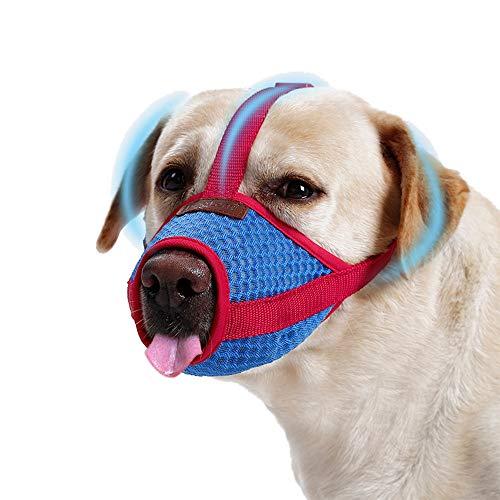 Atmungsaktiv Maulkorb mit Sicherheitsriemen für Hunde, Universal Weich Maulkörbe Giftköderschutz HundeMaulkorb Verhindert Beißen Bellen Kauen, Muzzle Dog mit einstellbarer Schleife für Alle Hunde (M)