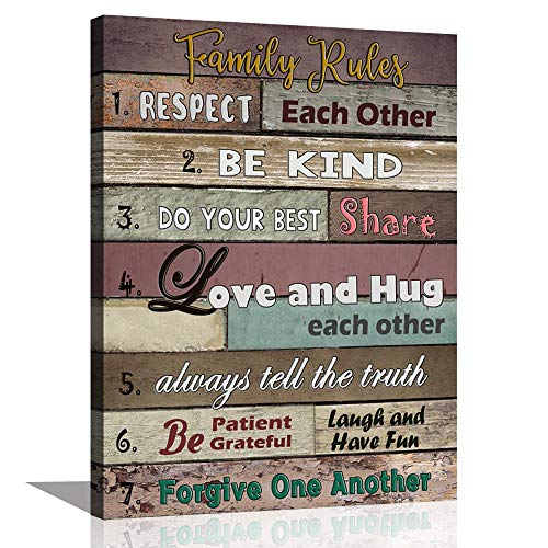 ARTSPIRIT Inspirational Wall Art Motivational Quotes Poster Canvas Art Print Family Rules for Dining Kitchen Kids' Room Home Decoration