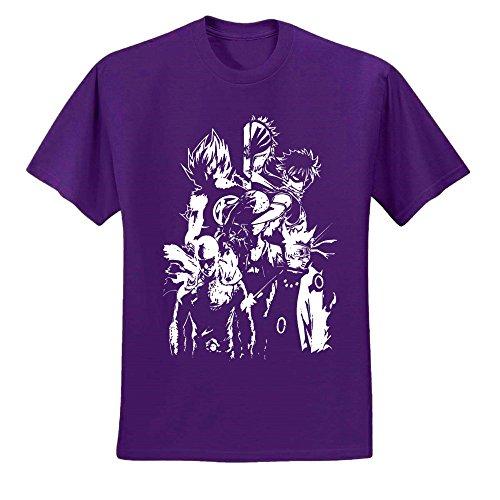 Japanese Anime Characters | Manga Lover | Mens Pop Culture Graphic T-Shirt, Purple, Medium