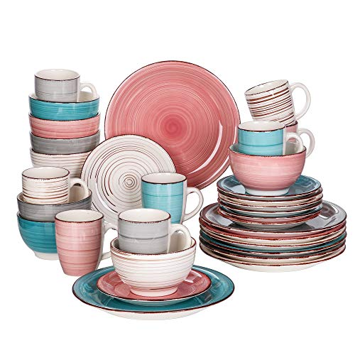 vancasso Stoneware Dishware Sets, Multi-Color 32 Pieces Dishes Dinner Sets, Plates and Bowls Sets, Serving Plates and Coffee Mugs, Service for 8, Series Bella