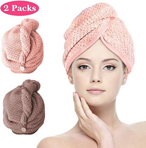 Jennary Turban Handtuch, 2 Stück Mikrofaser Turban Haartrockentuch Kopftuch Schnelltrocknend saugfähig Haar Trocknendes Tuch für Mädchen Frauen (Braun & Rosa)