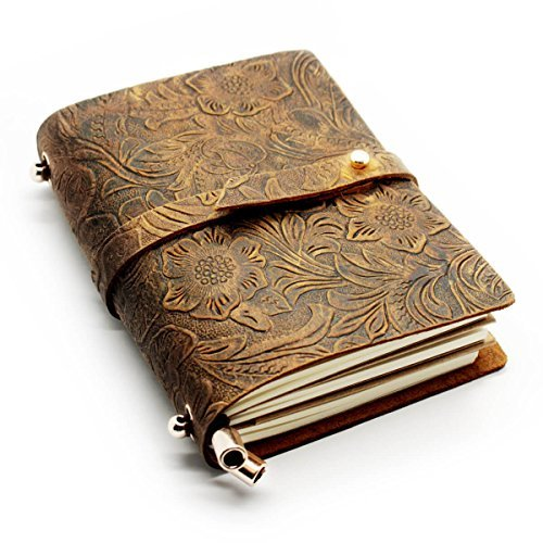 Cone Pocket Size Embossed Travel Leather Notebook 5.5x4.3x1.2 Inch, Brown, Pack of 1
