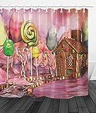 JHTRSJYTJ Sonnenschein-Süßigkeits-Paradies-Bonbon-Haus-Landschaft Duschvorhang ist geeignet für Badezimmer,Polyester wasserdicht,12Haken,180X180cm,Wohnkultur