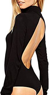 Women's Sexy Jumpsuits Backless Turtleneck Cotton Black Basic Bodysuit