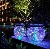 VENTUOS Solar Lantern,1 Pack (2 pcs) 30 LED Hanging Glass Jar Solar Lights Outdoor Waterproof Glass Lantern Table Lamps Great Outdoor Lawn Décor for Patio Garden, Yard and Lawn. (Multi color Light)