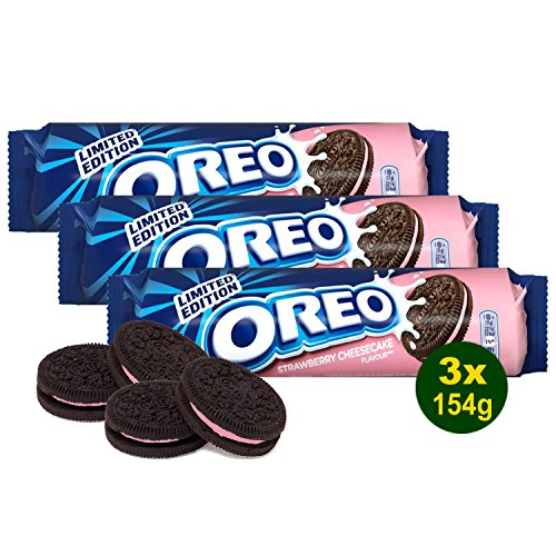 OREO Strawberry-Cheesecake Creme Biscuits Original 3x 154g (462g) - Sandwich-Kekse mit Erdbeer-Aroma