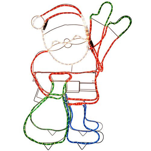 WeRChristmas Animated Father Christmas Santa Claus Waving Hand Rope Light Silhouette Decoration, 89 cm - Large, Multi-Colour