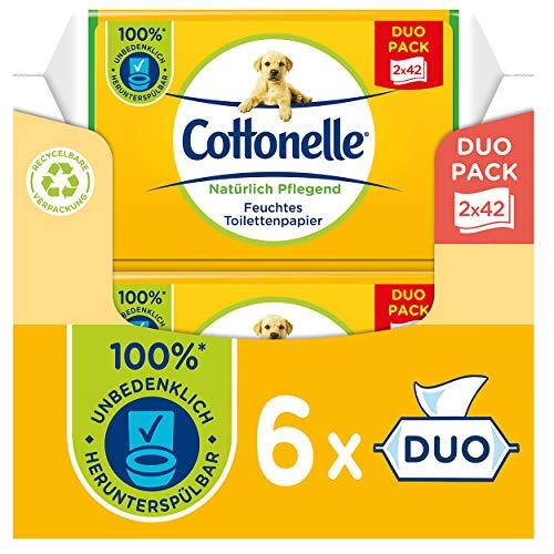 Cottonelle Papel higiénico húmedo, cuidado natural, manzanilla y aloe vera, biodegradable, sin plástico, reutilizable, paquete doble, 6 x 84 toallitas húmedas