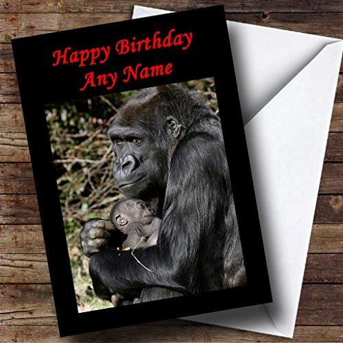 Gorilla knuffelen haar baby gepersonaliseerde Moederdag kaart