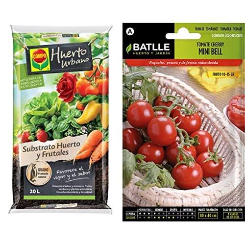 Compo Universal para Frutas, Verduras, Plantas aromáticas y de Interior, Apto para Agricultura ecológica + Semillas Batlle Hortícolas Tomate Cocktail Tipo Cherry