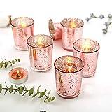 NEWLIGHTRUE Teelichtgläser 48 Stücke Rosegold Glas Votive Kerzenhalter Geschenk oder Tischdeko für Geburtstag, Ostern, Hochzeit, Muttertag (Rosegold) - 6