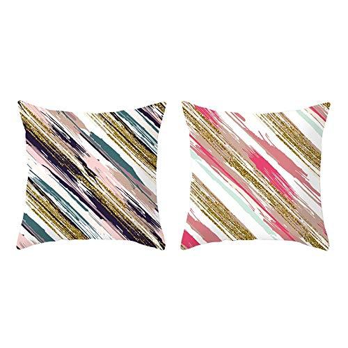 AmDxD Juego de 2 fundas de almohada cuadradas de poliéster, 40 x 40 cm, fundas de almohada con patrón de sarga, color blanco, negro y dorado