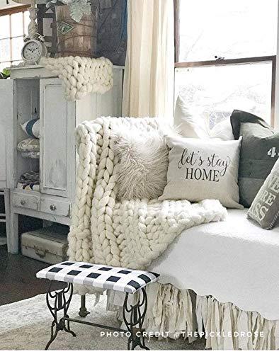 Diuangfoong Farmhouse Pillows – Let's Stay Home Farmhouse Funda de almohada – Funda de almohada de lino – Fundas de almohada de granja – Almohada rústica – Decoración rústica de 30,5 x 30,5 cm