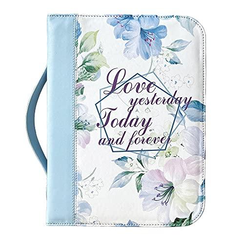 IvyRobes Funda de la Biblia con Cremallera, para Mujeres, Azul Patrón Floral con Mangode, Piel Sintética, Grande Bolsa de Transporte