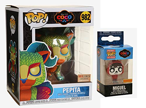 The Bright Beautiful World of Coco! Disney Figure Characters Bundled with Miguel Pocket Pop! Exclusive + Pepita Neon Big 6' Box Lunch Exclusive 2 Items