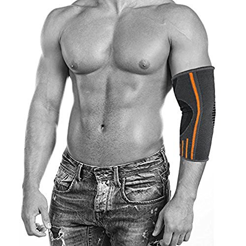 ZSZBACE Ellenbogenbandage Compression Sleeve - Elbow Sleeve Unterstützung für Workouts, Gewichtheben, Arthritis, Tendinitis, Tennis und Golfer Ellenbogen (1 Paar) (Grey-L)
