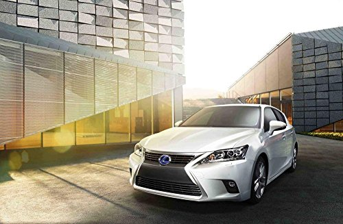 "Lexus CT 200h (2014) Car Art Poster Print on 10 mil Archival Satin Paper White Front Side Static View 36""x24"""