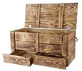 Traumhaft rustikale Holztruhe (85 x 39 x 40 cm, geflammt) Schatztruhe Spielzeugkiste Truhe Bank Stauraum Sitztruhe Sitzbank Aufbewahrungstruhe mit groer Kapazitt Flur, Schlafzimmer, Wohnzimmer
