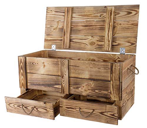 Traumhaft rustikale Holztruhe (85 x 39 x 40 cm, geflammt) Schatztruhe Spielzeugkiste Truhe Bank Stauraum Sitztruhe Sitzbank Aufbewahrungstruhe mit großer Kapazität Flur, Schlafzimmer, Wohnzimmer
