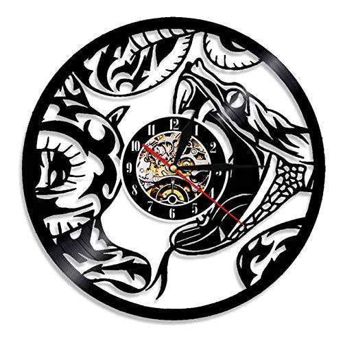 WWZY Vida Silvestre Serpiente Vinilo Registro Reloj Pared Movimiento Cuarzo Retro Silencioso Hecho A Mano Artesanía Decoración del Hogar No LED